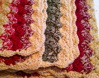 Double thick Autumn Colored Shell Crochet Baby Blanket,  Crib Size.