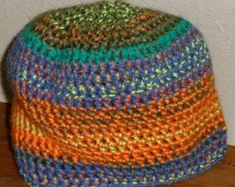 Orange flare crochet beanie hat Contrasts in blue aqua shades dual yarn stitch