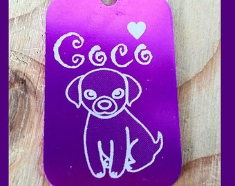 Custom GI TAG Laser Engraved Dog Tag Anodized Aluminum Purple or Black