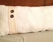 Cream Knit Long Throw Pillow