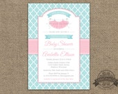 Tutu Cute Baby Shower Invitation - Quatrefoil - Pink Aqua or ANY colors - Chevron - Tutu Party Shower or Birthday - Pritable DIY - Twins