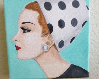 Original painting of vintage woman wearing a polka dot hat