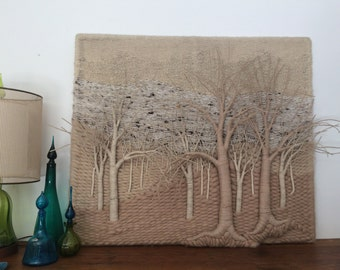 Massive Gloria Mcroberts Woven Wall Sculpture Fiber Art Wall Hanging Tapestry 3-D Trees STUNNING Piece For The Collector
