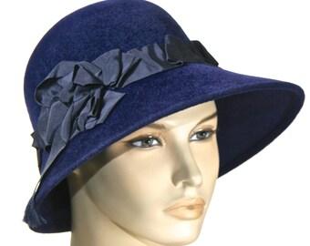 Navy Blue Women's Hat,  Fur Felt Winter Cloche, Fall Winter Women's Hat