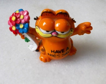 Vintage Garfield Figurine. 80s Kitschy Cat Miniature. Jim Davis. Have a Nice Day. Cat Toy Figure. MTO, Blossom