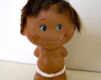 Naked Boy Vinyl Doll Japanese 1960s Rubber Silly Cute Doll Vintage Kitsch Toys Mowgli