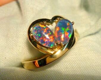 Ladies Opal Ring 14ct Yellow Gold 2 X 8x5mm Pear Shape Claw Set  triplets. item 70416.
