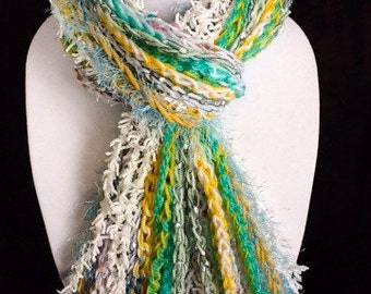 Handmade scarves: Fringe scarves - White - Turquoise - Yellow - Crocheted Scarf - Long Fringe Scarf - Crochet - Long - Warm - Soft - Wcards