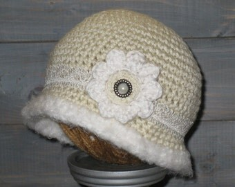 3 to 6 month Cream Crochet Hat with White Flower and White trim