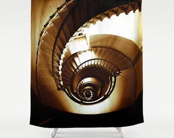 Nautical Shower Curtain - Spiral Staircase - Lighthouse - Ocean - Beach - Seashell - Bathroom - Home Decor - 71x74