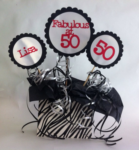 30th 40th 50th 60th Birthday Table Decorations Zebra Print Party ...
