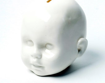 Porcelain piggy bank, doll head, limited edition