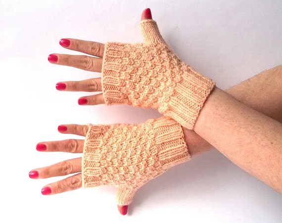 SALE - 50%OFF. Peach Fingerless Gloves. Knit Peach Fingerless Mittens. Hand Knit Short Gloves. Knitted Wrist Warmers.