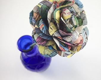Comic Book Long Stem Paper Roses - Long Stem Comic Book Roses - Comic Book Flowers