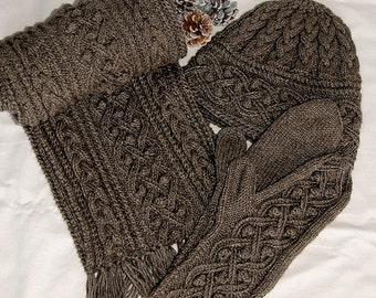 """Pure Qiviut Luxury: Scarf, Hat , Mittens Set/Combi """"Mayne Island"""", hand knit in pure undyed qiviut (underdown of the muskox) - MADE TO ORDER"""