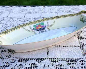 Noritake CELERY BOAT Relish Tray Handpainted Fruit  Floral Yellow White Black Trim With Handles 12 in Long Excellent Condition