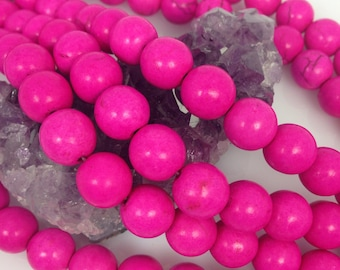 Lot of 5 strands 12mm Hot Pink Howlite Turquoise Loose Spacer Beads Round 15.5 inch strand (BD5291)