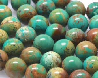 40 pcs 10mm Genuine Chinese Natural Turquoise Round Loose Beads (BH5611)