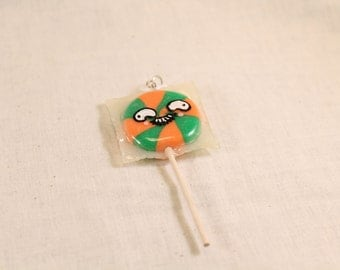 Silly Face Lollipop Charm Green and Orange 8 section Polymer Clay Food Jewelry