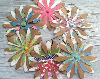 Handmade Paper flowers, flower embellishments-  set of 6   2.5 inch diameter