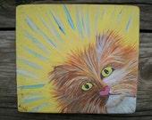 Nosy Freda, Original Cat Painting, Orange Kitty Original Painting, Shelf Sitter Kitty Painting