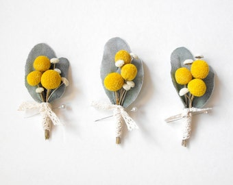 Billy Ball Boutonniere, Rustic Boutonniere, Yellow and Gray Wedding, Wedding Boutonniere, Dried Flower Boutonniere, Lapel Pin