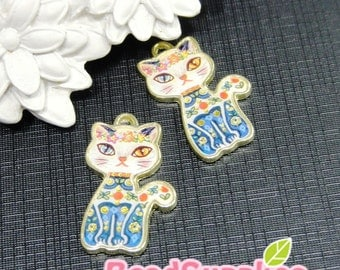 CH-LO-05007A  (New and Exclusive) The Mysterious Cat charm, blue dress, 2 pcs