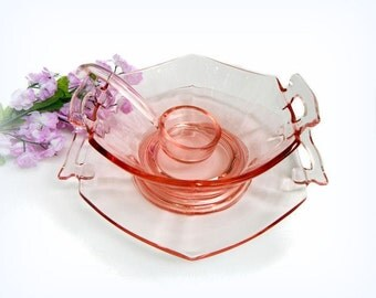 Vintage Imperial Molly Mayonnaise Set Pink Depression Glass
