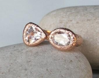 White Topaz Rose Gold Ring- Dual Gemstone Adjustable Ring-Double White Quartz Ring-White Stone Solitaire Ring-Double Gemstone Statement Ring