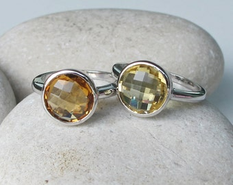 Stack Ring- Quartz Ring- Citrine Ring- Stackable Ring- Birthstone Ring- Gemstone Stack Ring- Statement Ring- Gifts for Her