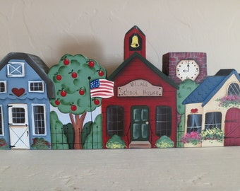 Americana Primitive Folk Art Village shelf sitter, hang, hand painted village, home decor, teacher gift