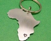 My heart belongs in Africa - A Hand Stamped Aluminum Keychain - READY to SHIP