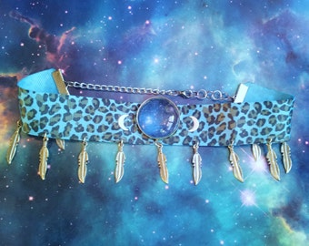 Cosmic leopard print feathered choker