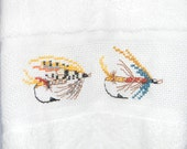Fly Fishing Hand Towel - Finished Cross Stitch - Guest Towel