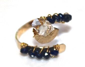 Adjustable Sapphire Ring Herkimer Diamond Ring Herkimer Quartz Modern Ring Wedding Ring Gold Ring Spring Sapphire Jewelry Hammered Ring