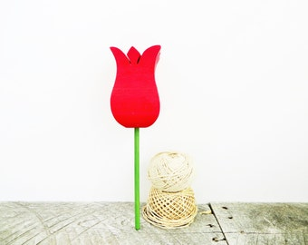 Red Tulip in Vintage Bud Vase - Proceeds to Parkinsons - Pretty Wooden Flower