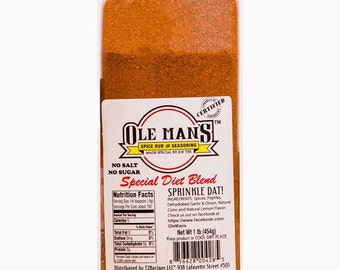 Special Diet Blend NO SALT or SUGAR  -Ole Man's Spice Rub & Seasoning - Don't Miss Out! /Take advantage of free shipping until 1 Aug 2017!