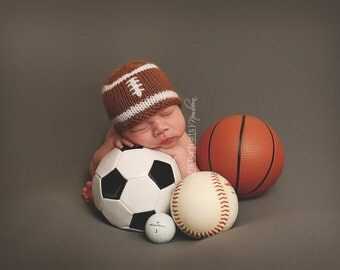 Baby Football Beanie Photo Prop, Knitted, MADE TO ORDER