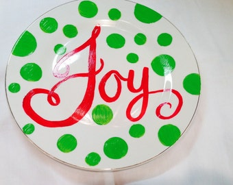 Christmas Plate, Hand Painted Holiday Plate, Christmas Joy Plate
