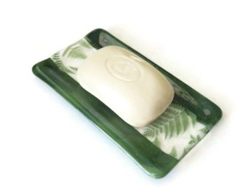 Fused glass soap dish or sponge holder - marbled green with fern design