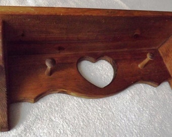 Shelf ~ Coat Rack ~ Hat Rack ~ Stained pine ~ 17 3/4 inch long ~ 5 1/2 inch deep ~ 7 inch high ~ Shabby chic ~ Ready to Ship