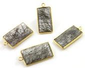 Black Rutile Bezel Pendant Gemstone Component, Gold Vermeil, , 16x30 mm, 1 Piece, (BRQ/PDT/101)