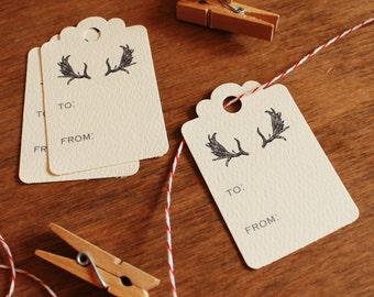 Holiday Gift Tags Antlers Christmas Scalloped Hang Tags