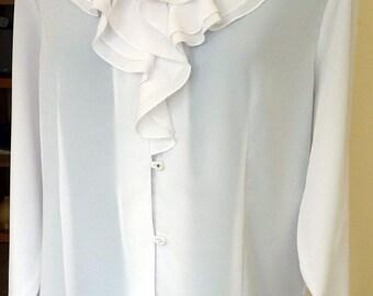 Vintage Romantic Frilly Pleated White Blouse UK size 16