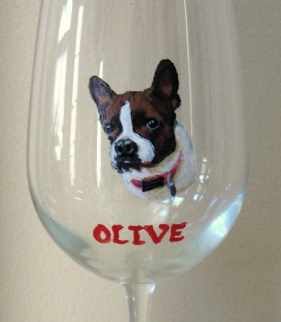 Boston terrier art pet portrait wine glass handpainted for Wine and paint boston