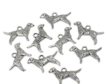 10 Pieces Antique Silver Labrador Retriever Dog Charms