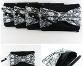 SUPER SALE - Set of 7 Black Lace Bow Clutches -Bridal Clutch,Bridesmaid Clutch,Bridesmaid Wristlet,Wedding Gift,Zipper Pouch - Made To Order