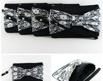 SUPER SALE - Set of 6 Black Lace Bow Clutches -Bridal Clutch,Bridesmaid Clutch,Bridesmaid Wristlet,Wedding Gift,Zipper Pouch - Made To Order