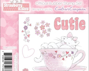 """STRAWBeRRY KISSEs - """"CUTIE """" CAT in a TEA CuP  VALENTINEs  STAMp SeT -   Super CUte for any Love Theme"""