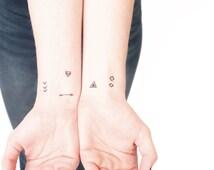 geometric tribal tiny temporary tattoos for wrist- pack of 10 - triangle arrow diamond chevron